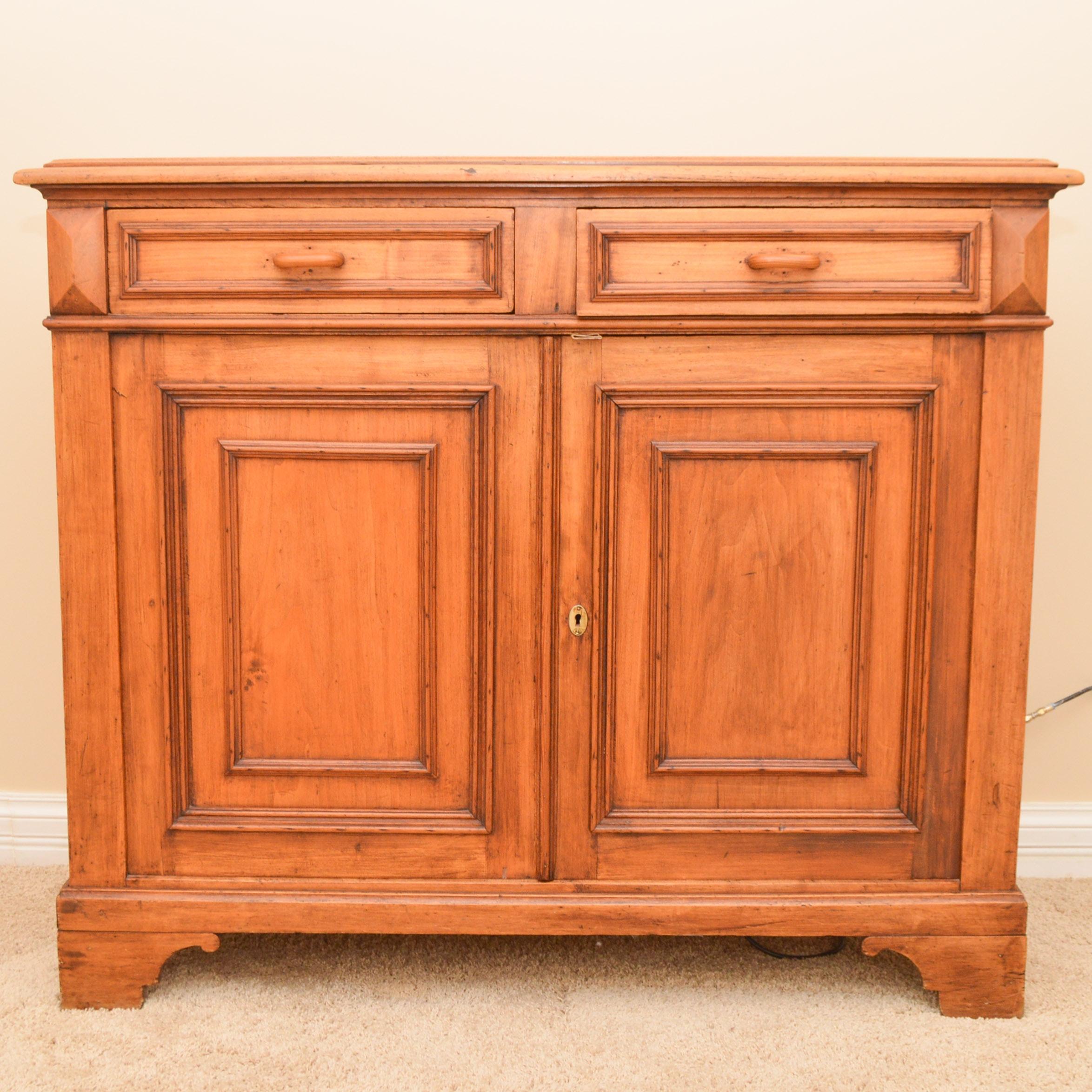 Antique Two Door Cabinet in Wormy Chestnut Wood