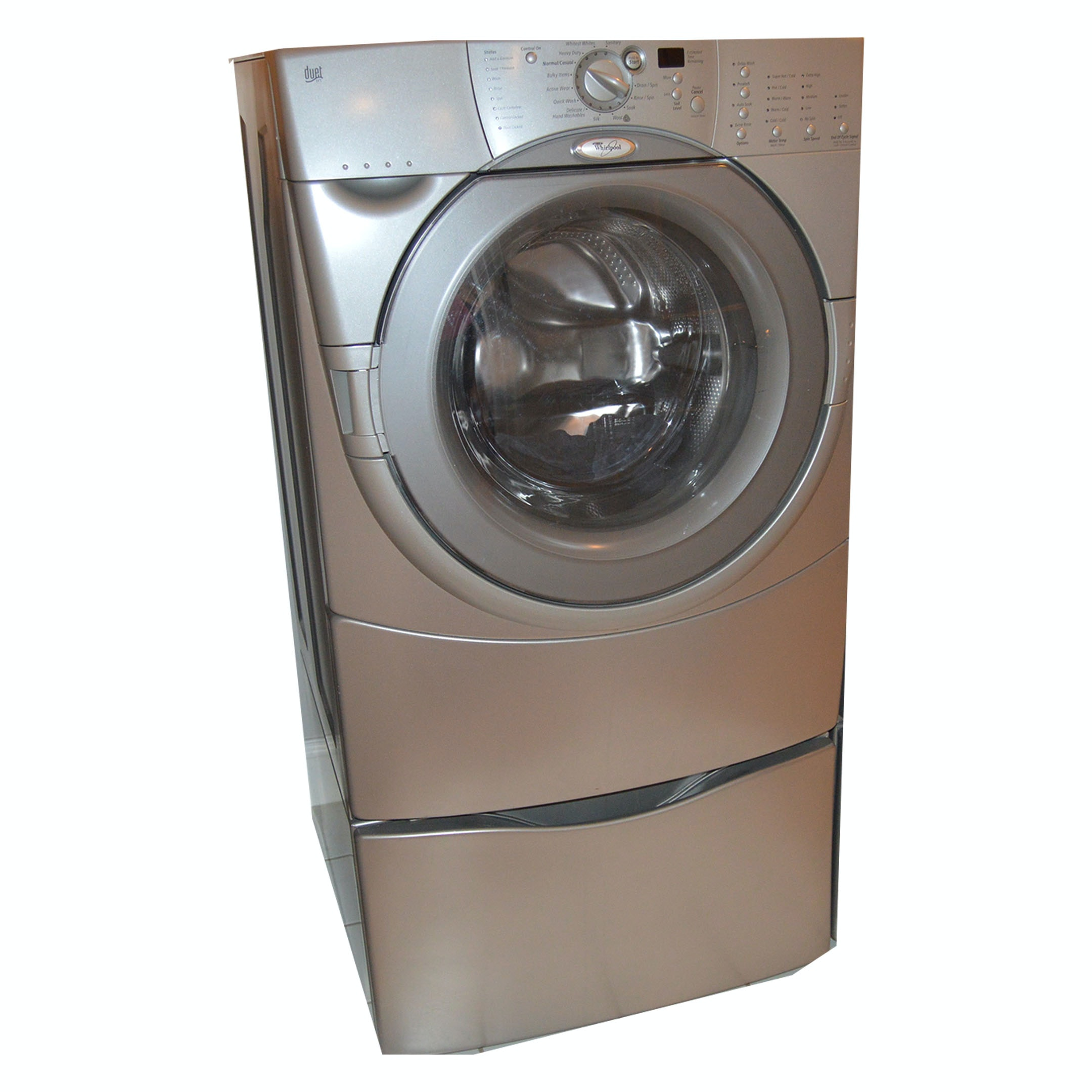 "Whirlpool ""Duet HT"" Front-Load Washer and Storage Pedestal"