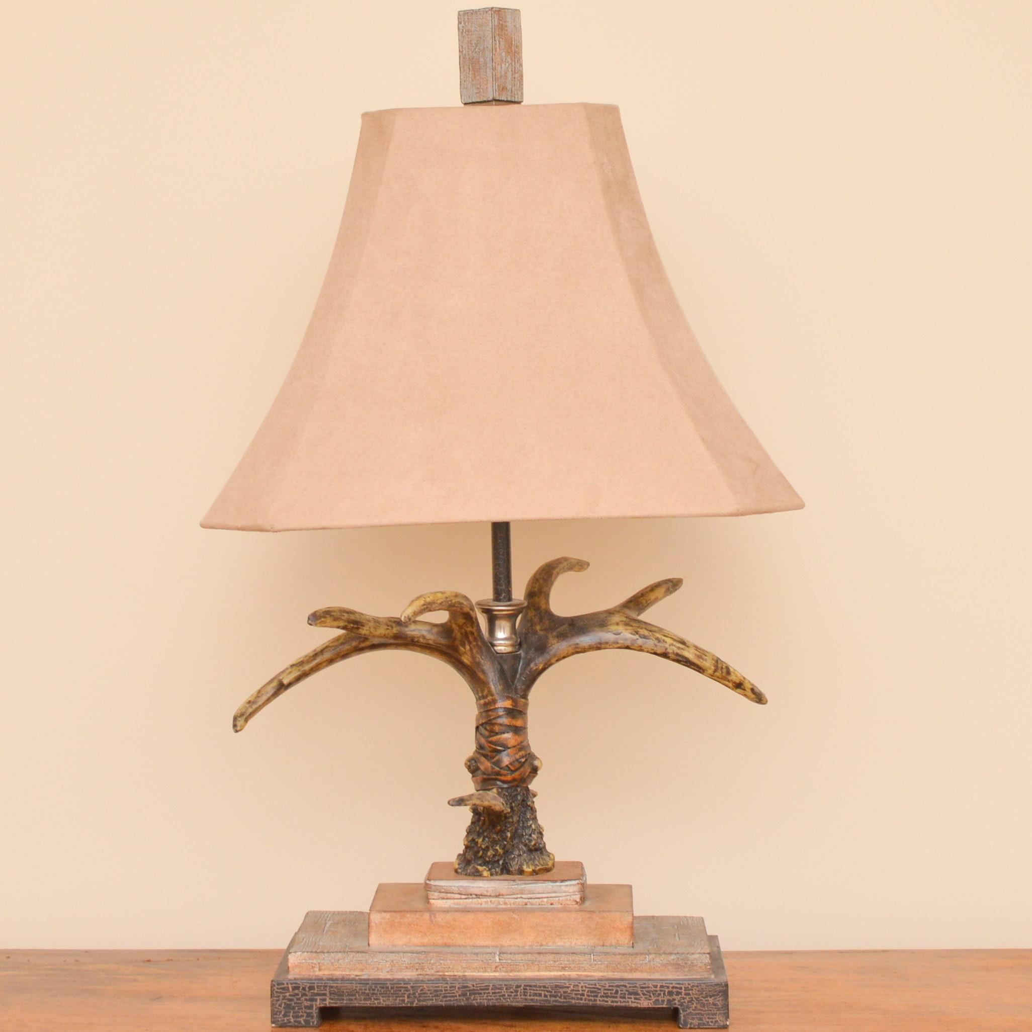 Antler Table Lamp on Resin Base