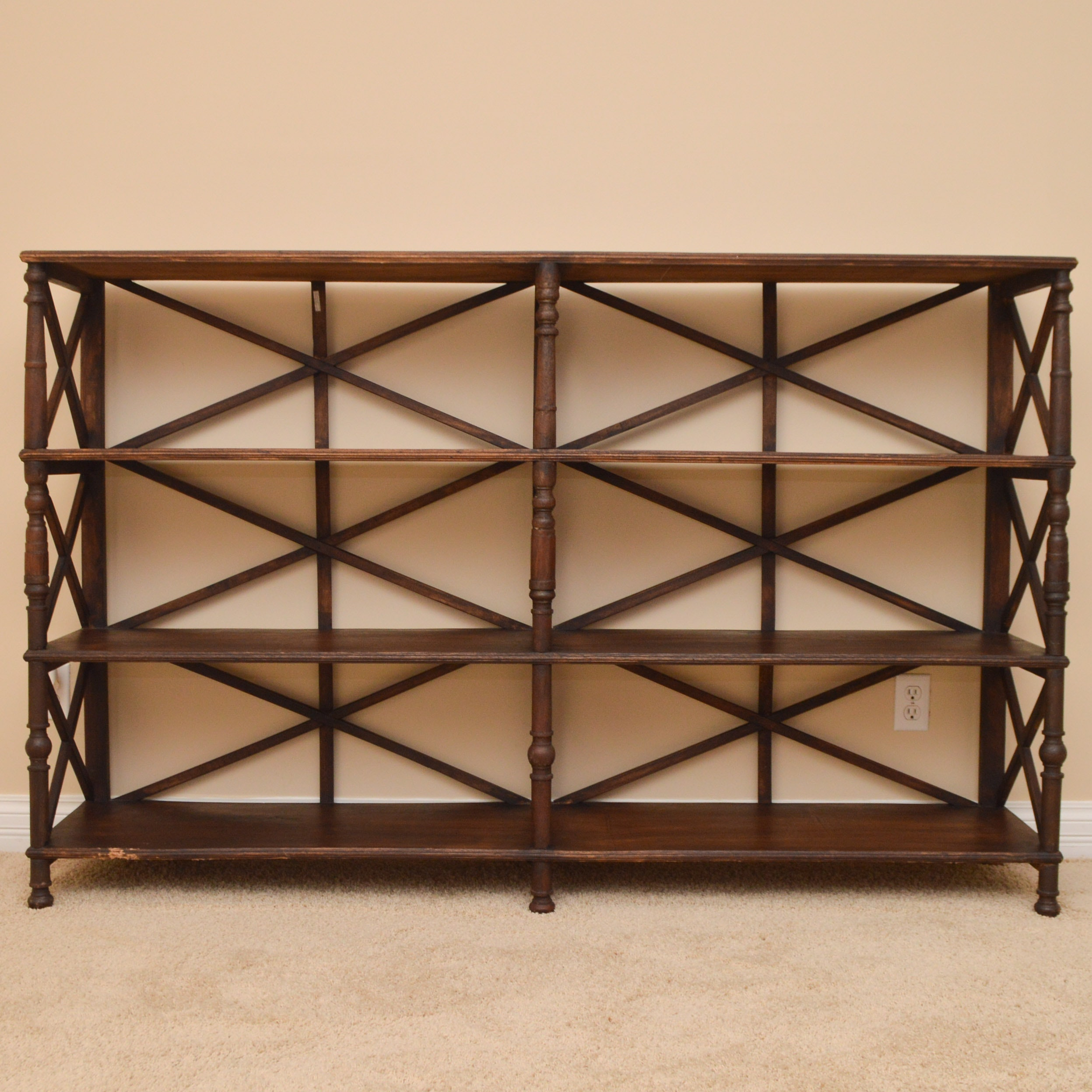 Walnut Stained Standing Wood Shelves