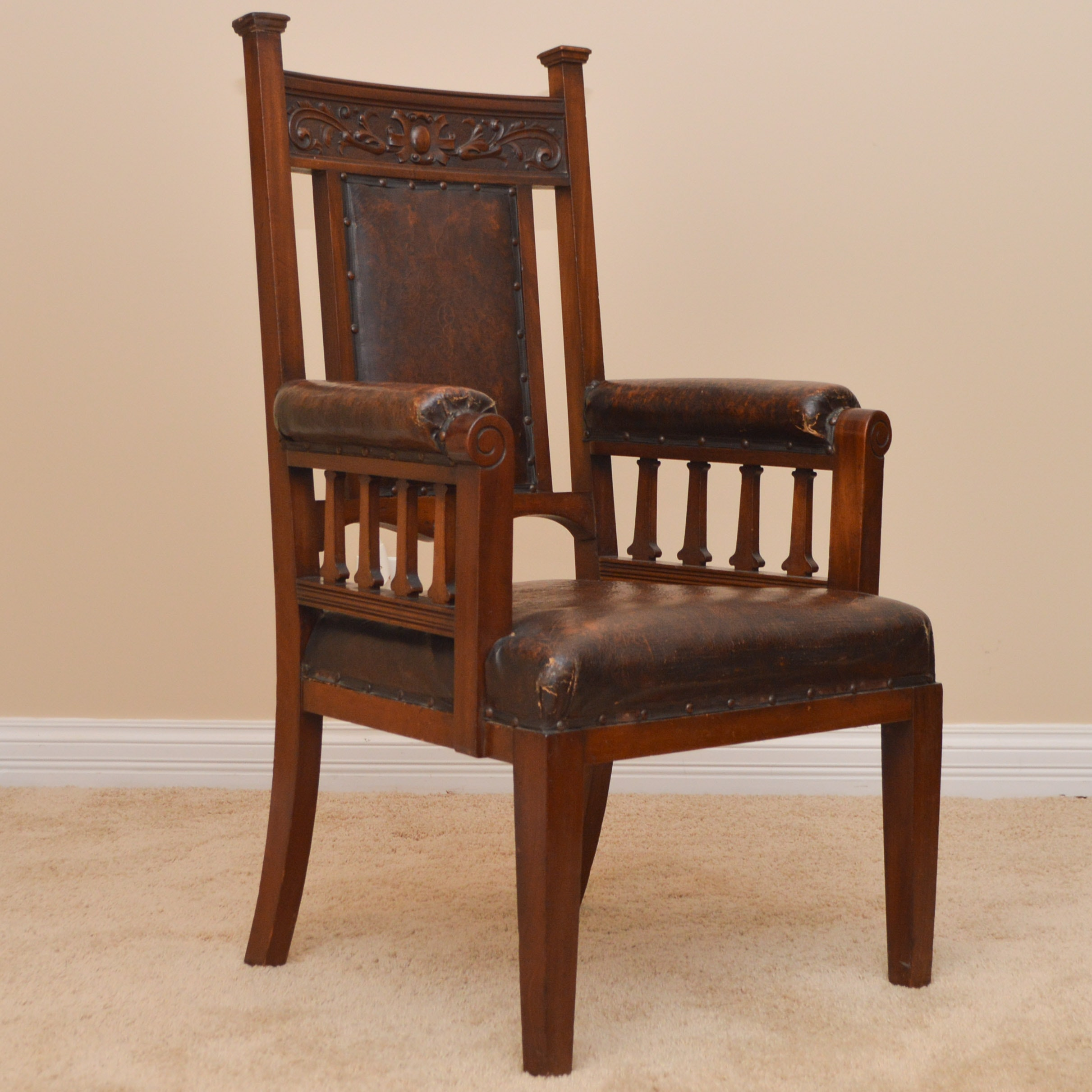 Antique Walnut and Leather Jacobean Style Armchair