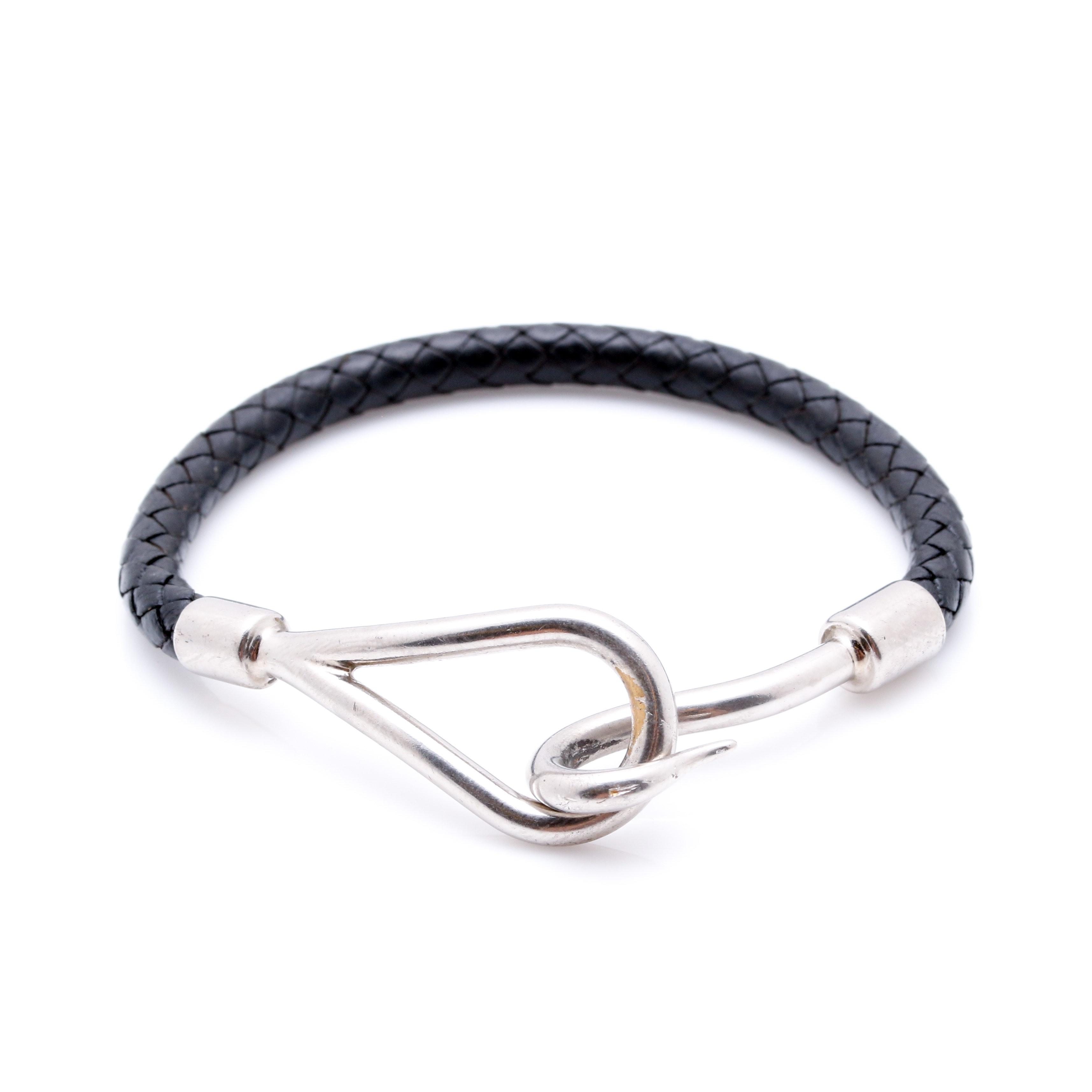 Hermés Jumbo Hook Black Leather Bracelet