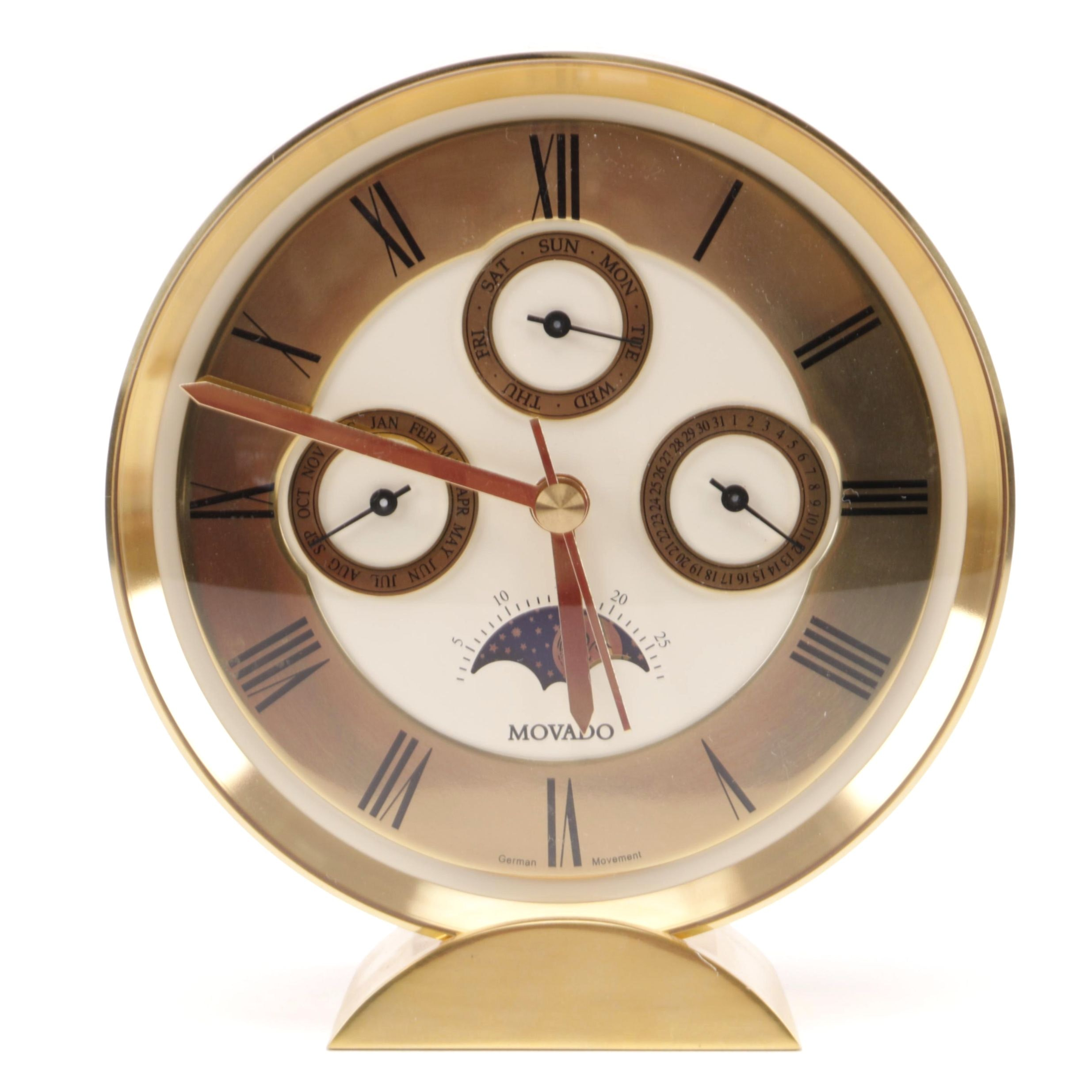 Vintage Brass Chronograph Clock by Movado