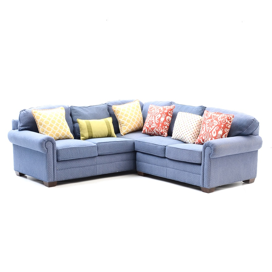 Calico Corners Blue Sectional Sofa