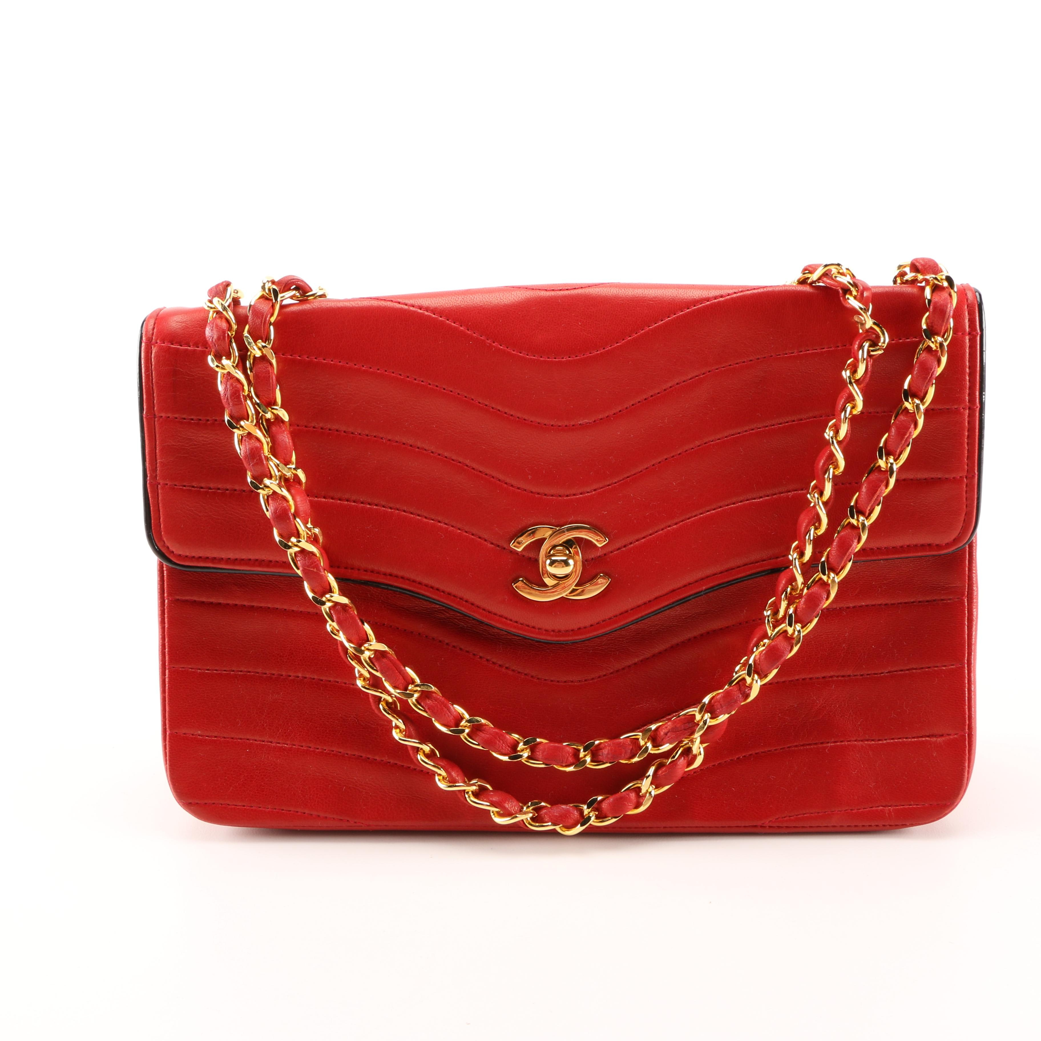 Chanel Red Leather Flap Bag