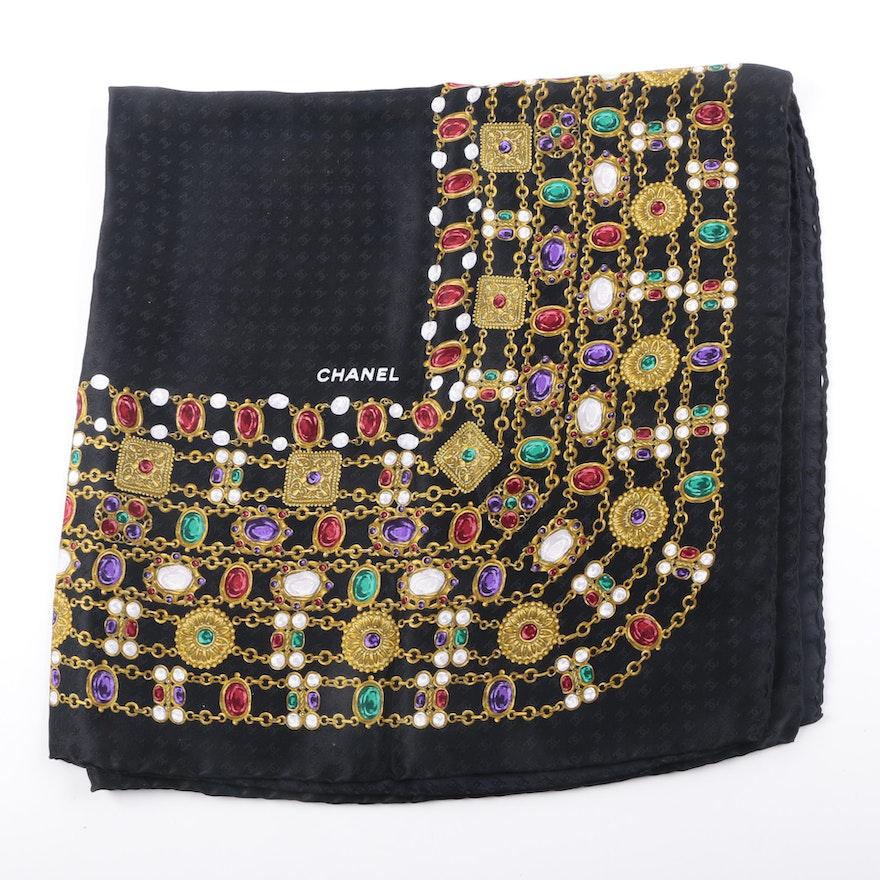 Chanel Jewelry Print Silk Scarf