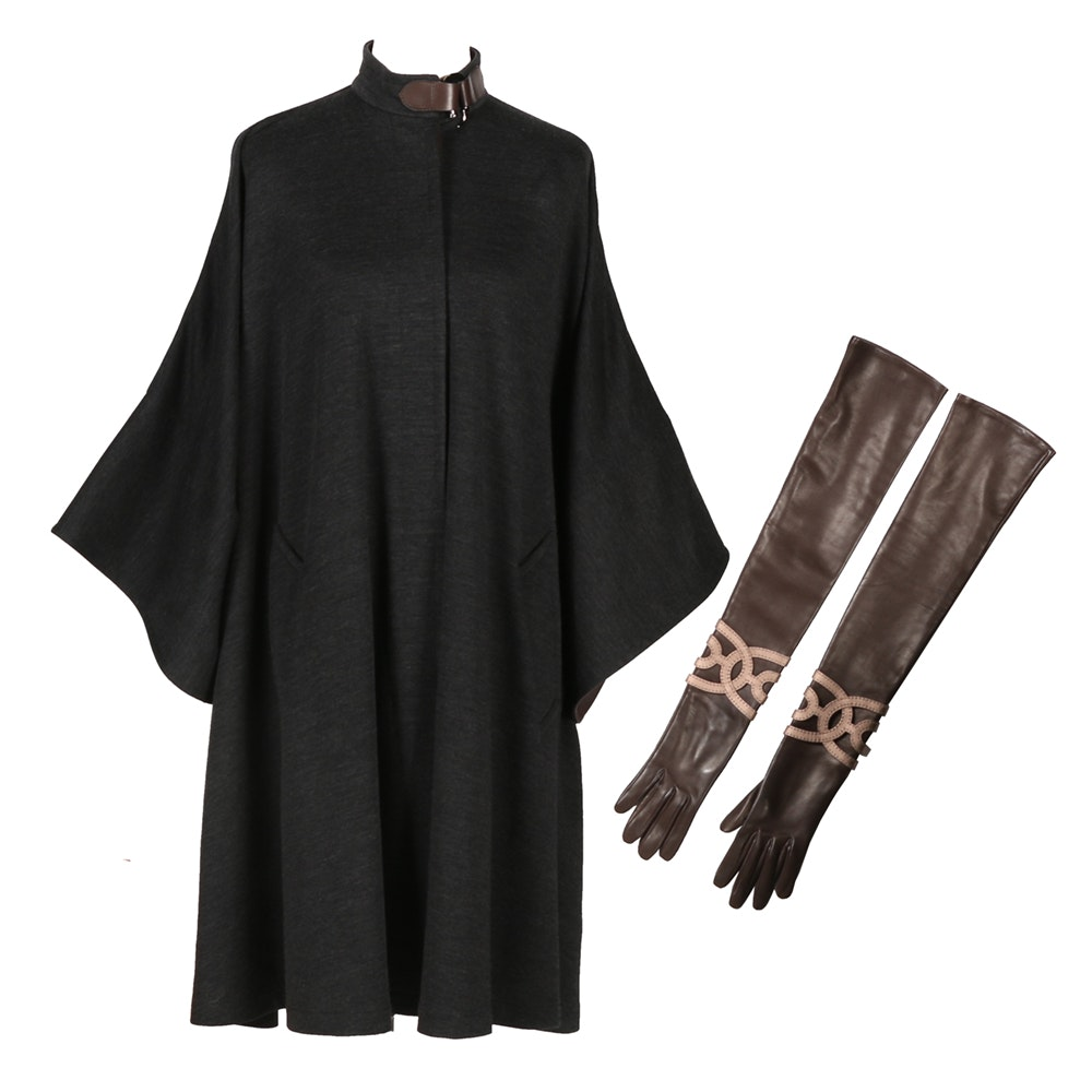 Hermès Deep Heather Gray Wool Cape with Coordinating Gloves