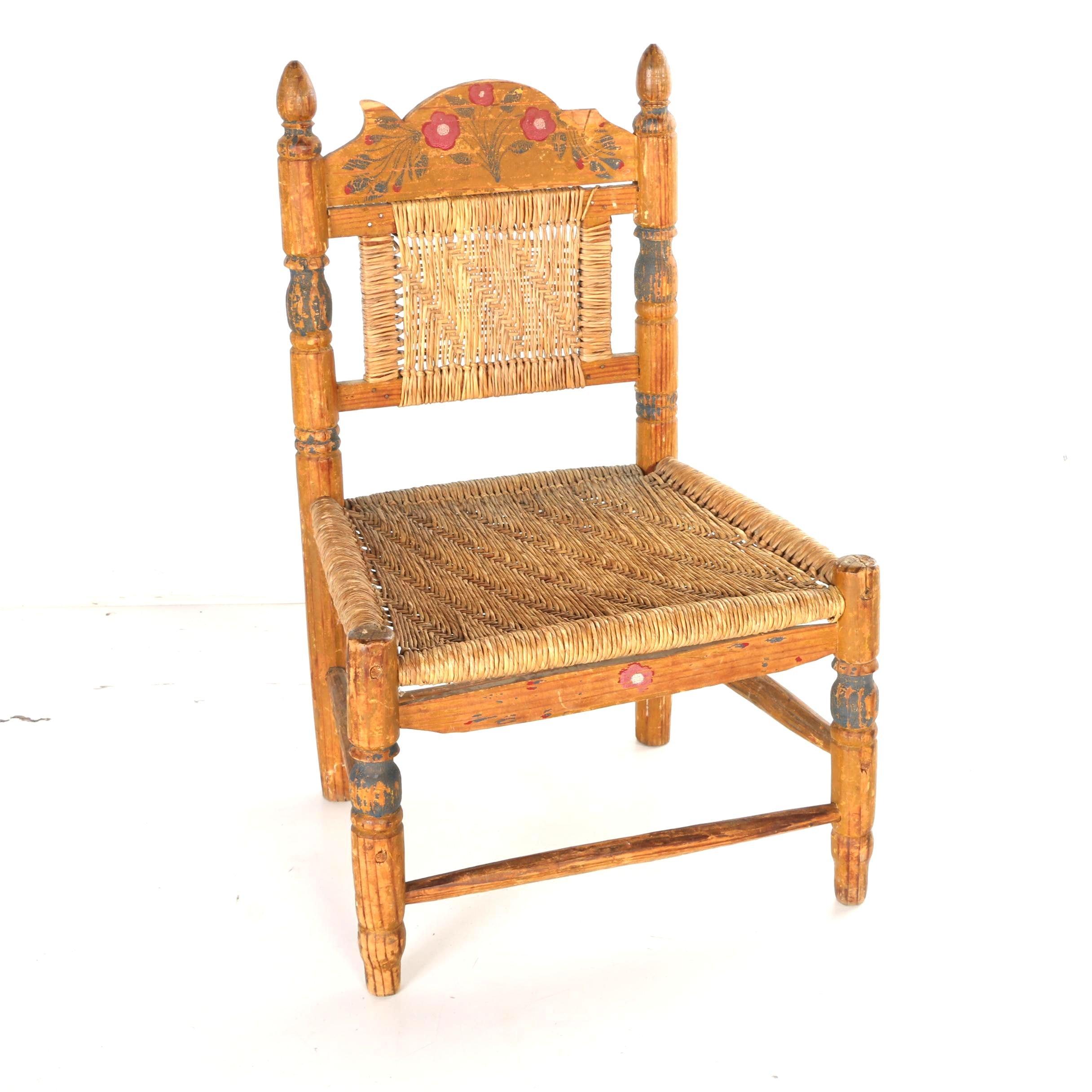 Antique Child's Rush Seat Chair