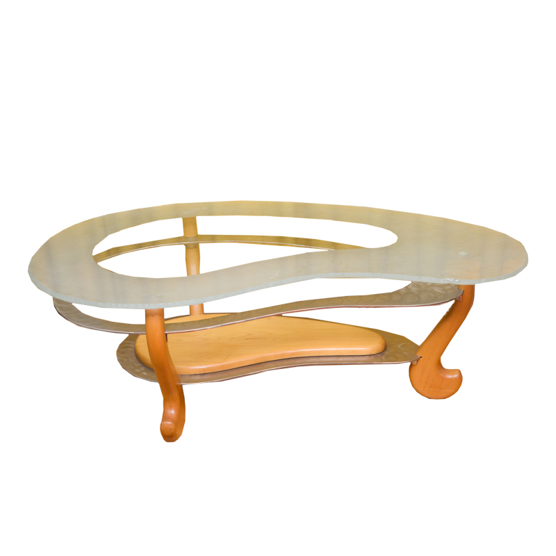 Contemporary Modernist Kidney Shaped Glass Coffee Table EBTH