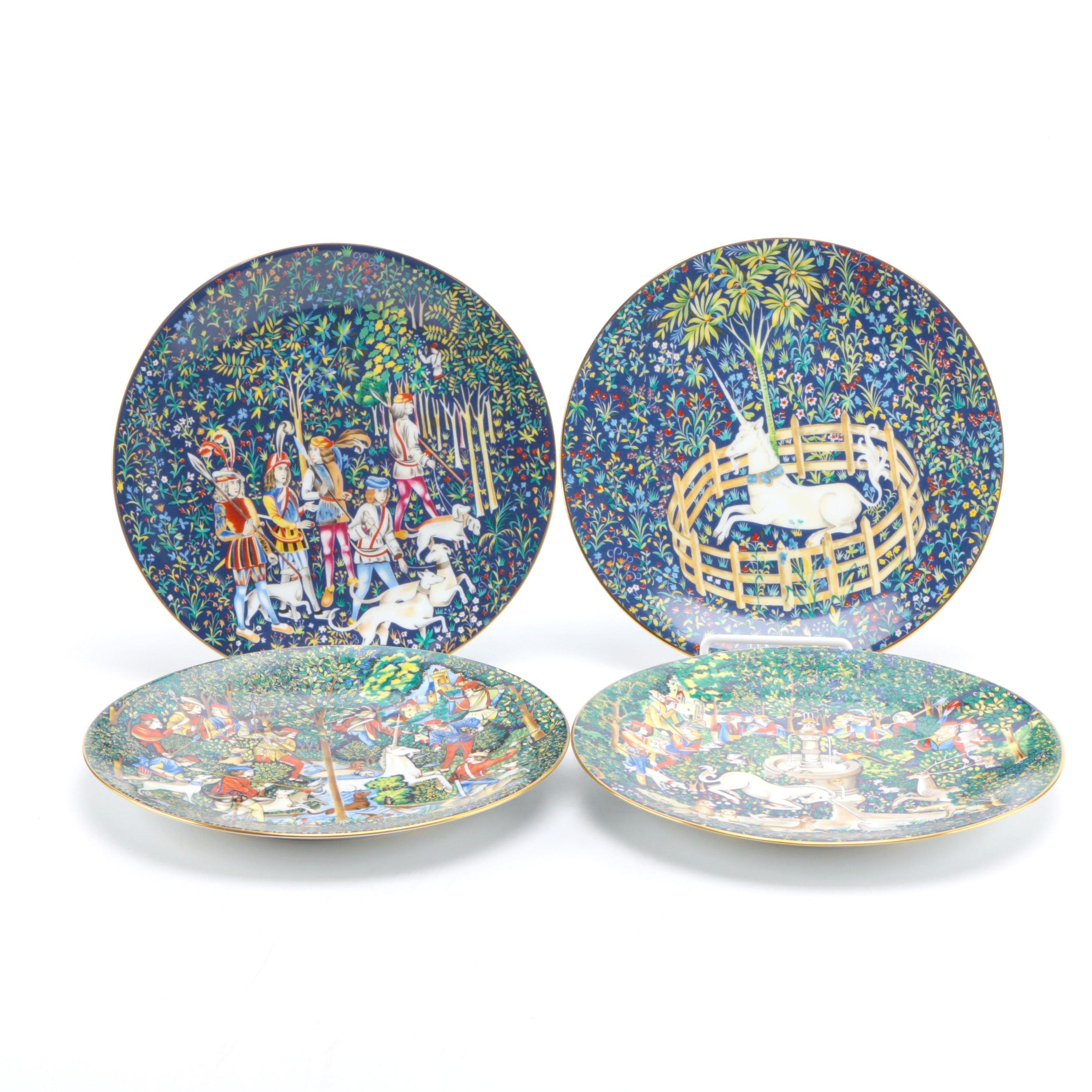 """Haviland & Parlon Limoges """"La Chasse a la Licorne"""" Porcelain Plates"""