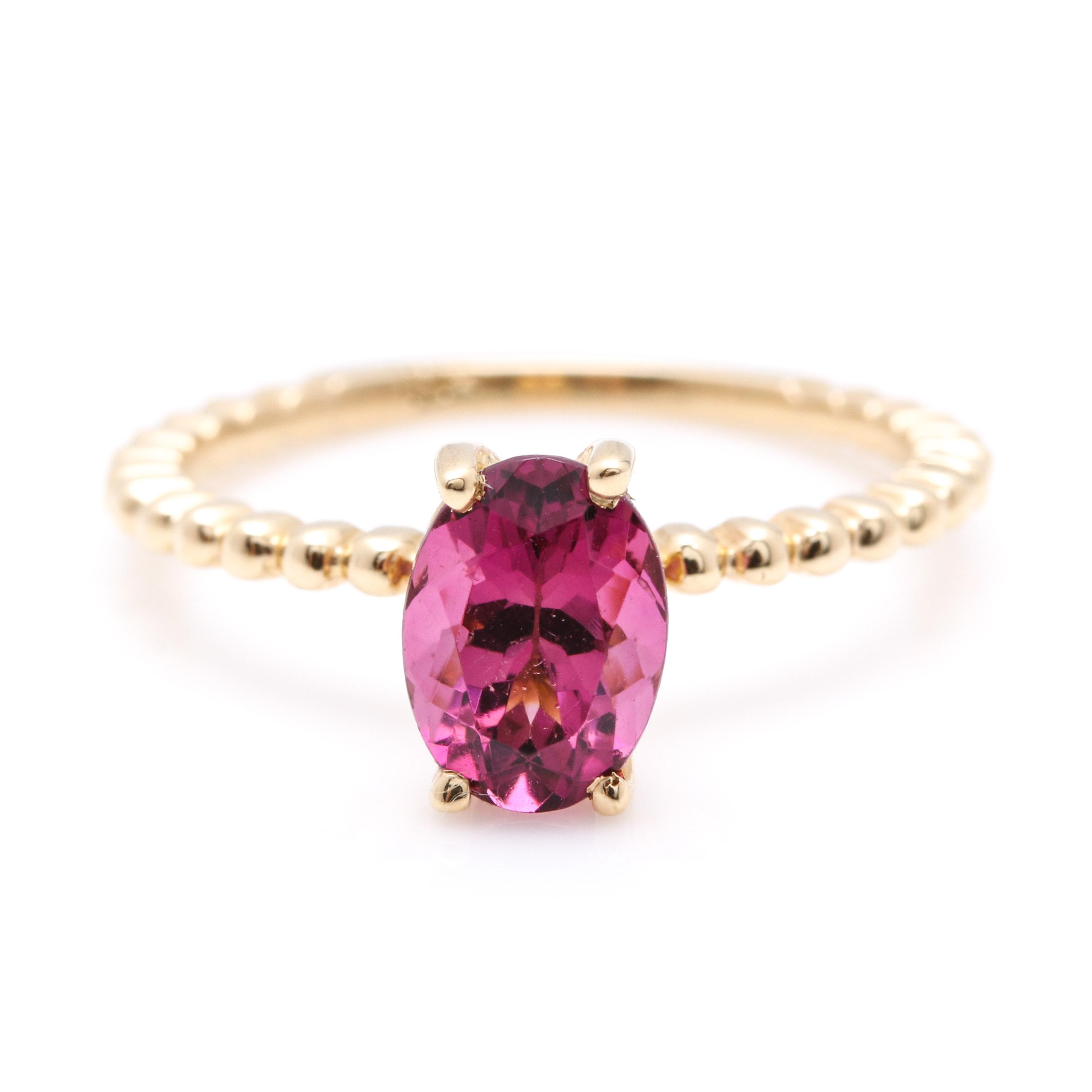 14K Yellow Gold Pink Tourmaline Fancy Ring