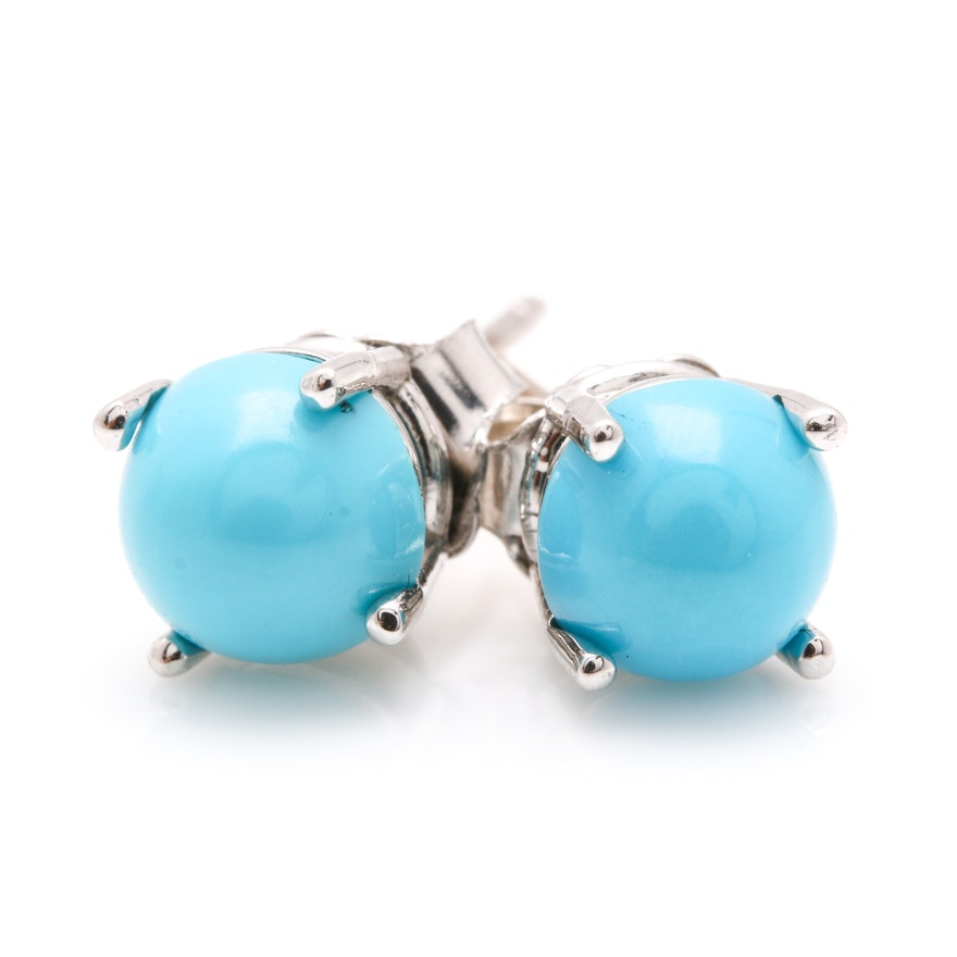 14k White Gold Turquoise Earrings