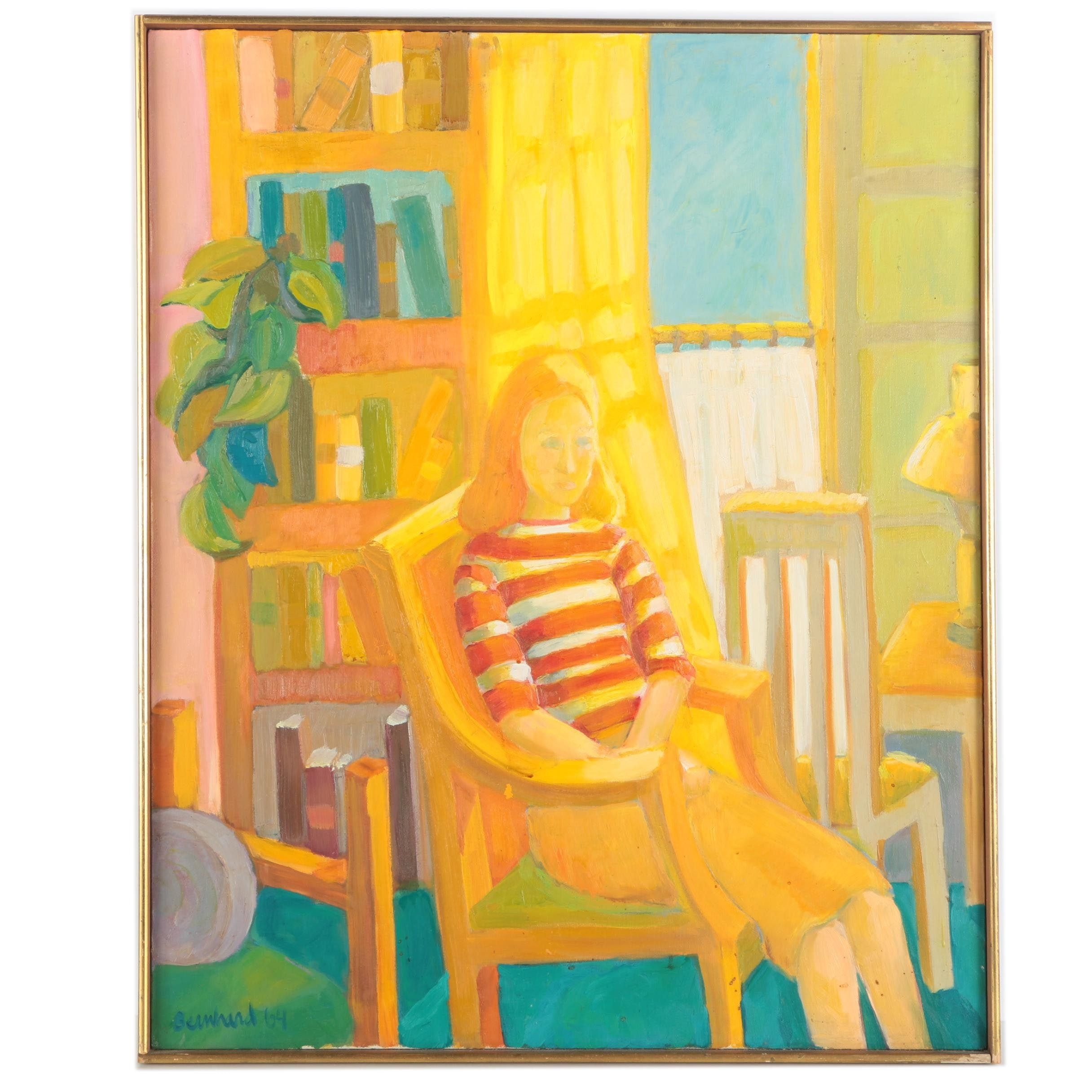 Bernhard 1964 Oil on Canvas Portrait of Seated Woman