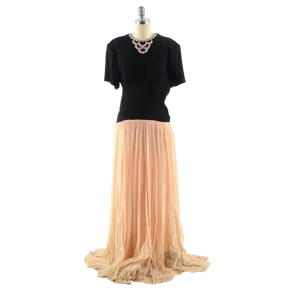 Vintage Crepe and Chiffon Evening Dress