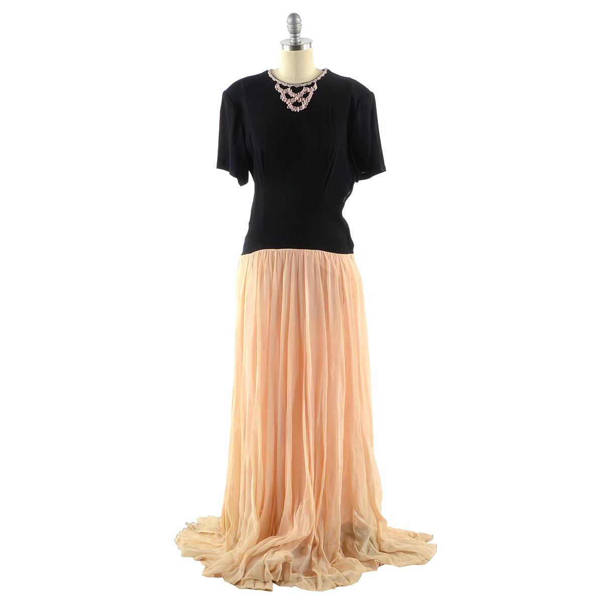 Vintage Crepe and Chiffon Evening Dress