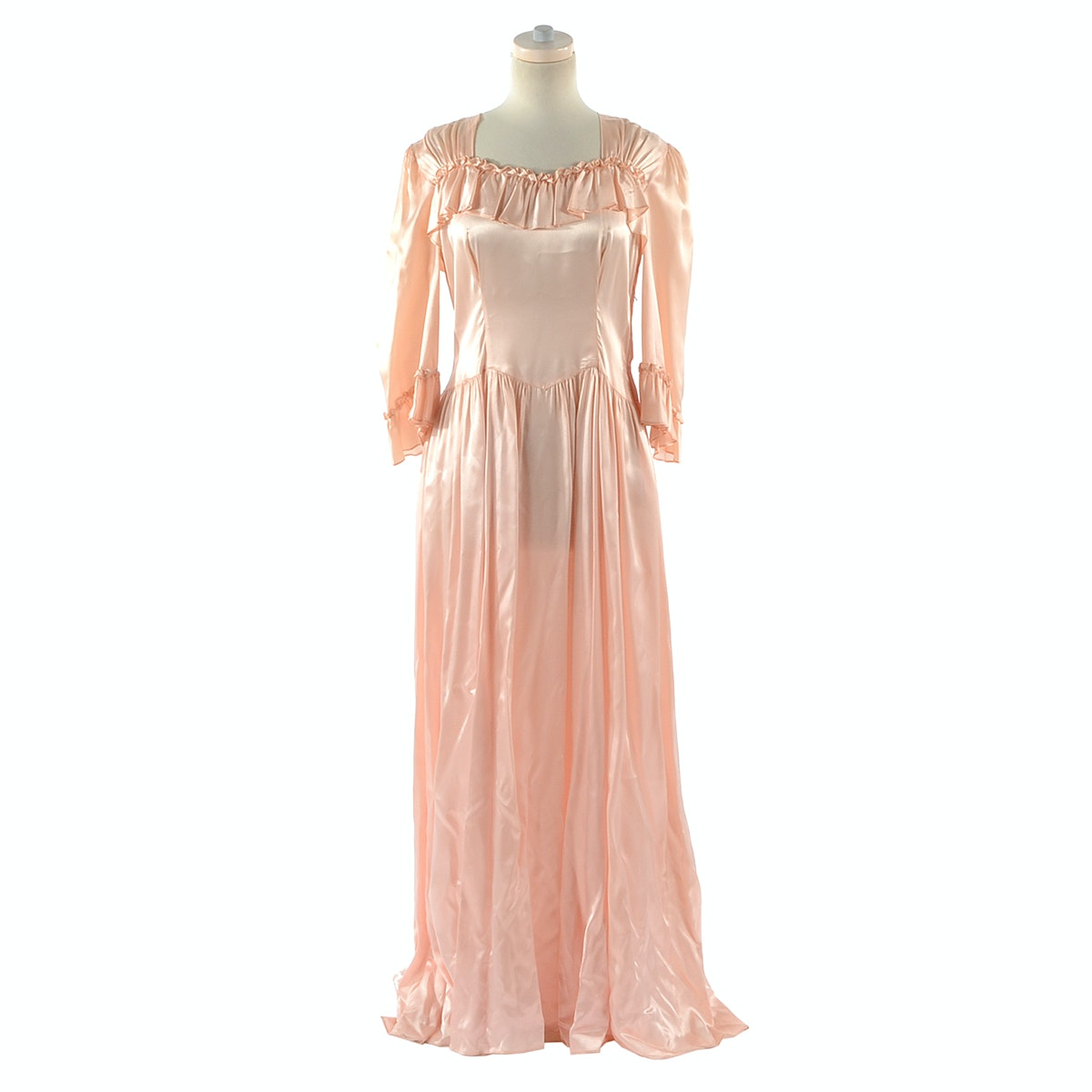 Vintage Pink Satin Evening Dress