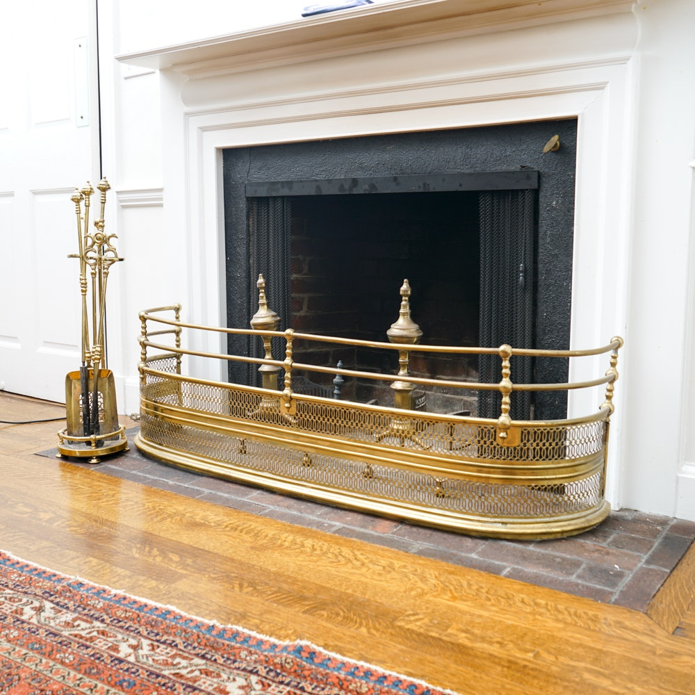 Brass Reticulated Fireplace Fender And Coordinating Andirons And