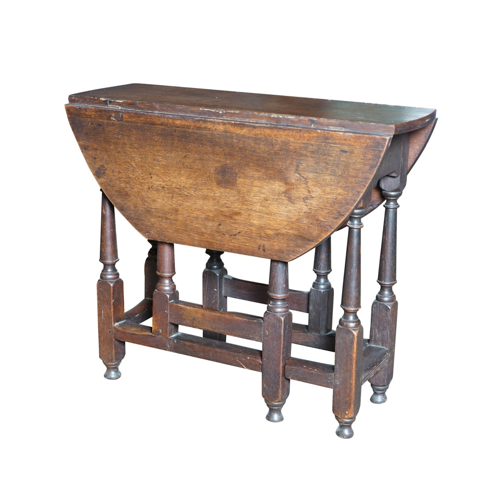 Antique William And Mary Style Oak Gate Leg Table ...
