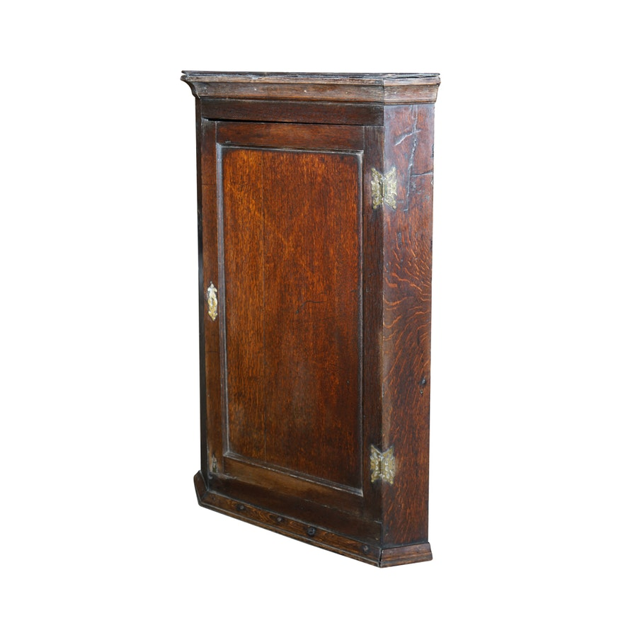 Antique English Oak Corner Wall Cabinet ... - Antique English Oak Corner Wall Cabinet : EBTH