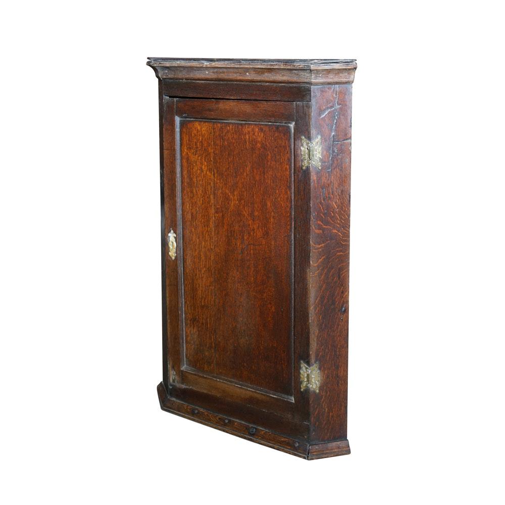 Attrayant Antique English Oak Corner Wall Cabinet ...