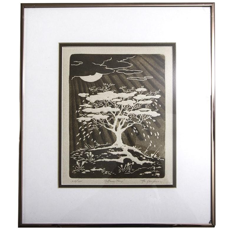 "Al Kaufman Intaglio Print on Paper ""Autumn Time"""