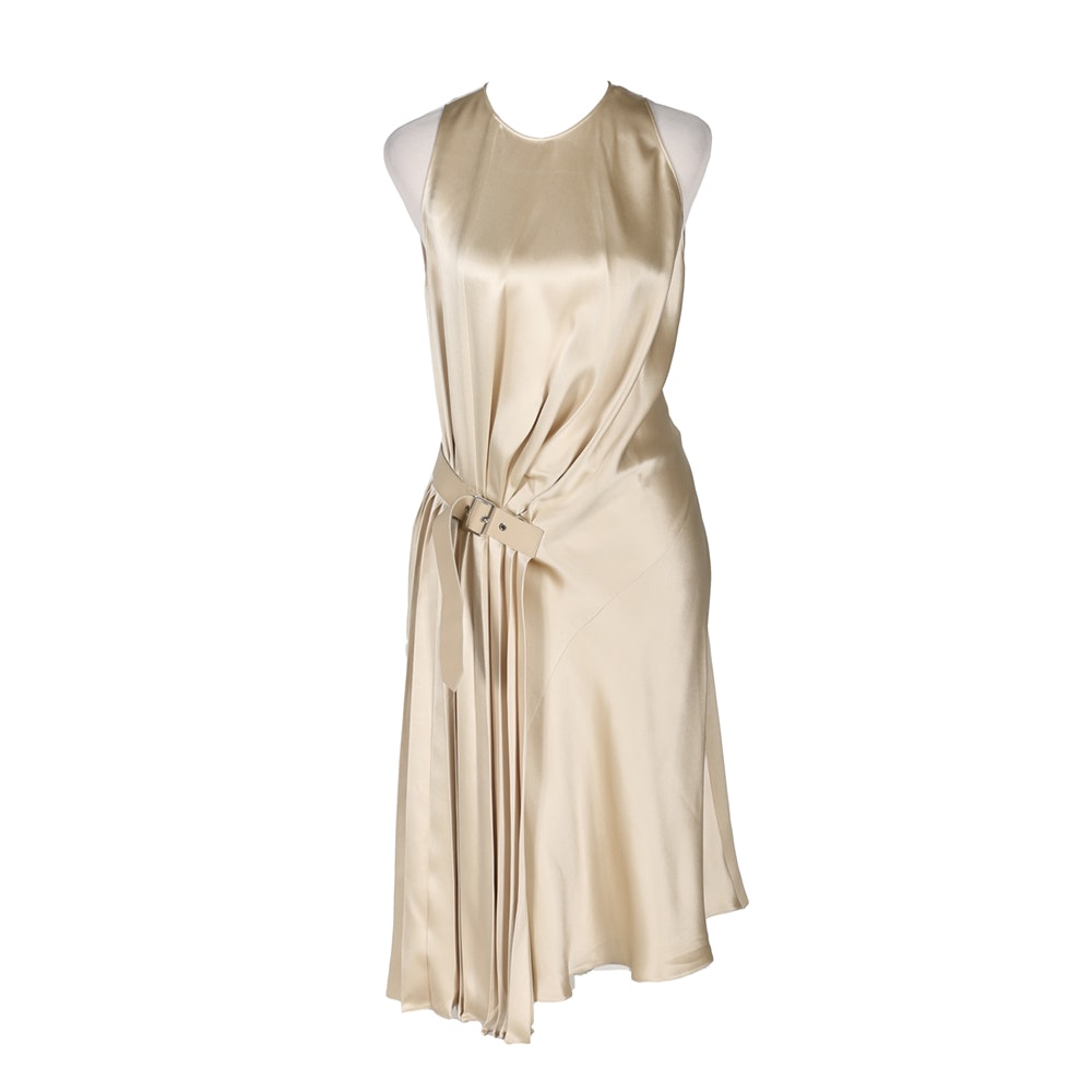 Salvatore Ferragamo Parchment Silk Satin Dress