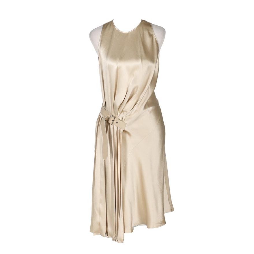 Salvatore Ferragamo Parchment Silk Satin Dress
