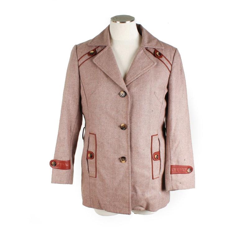 Women's Convertible Wool Jacket and Rabbit Fur Vest