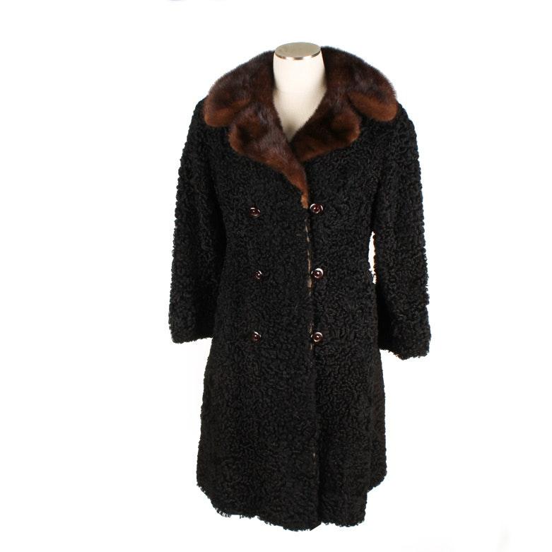 Vintage Double-Breasted Persian Lamb Fur Coat