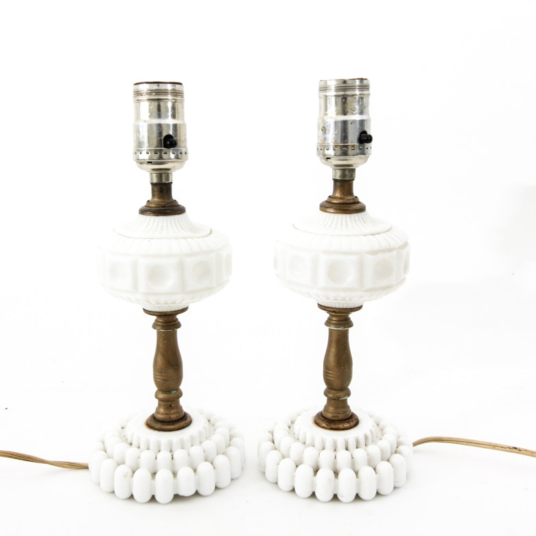Pair of Vintage Turned Brass and Milk Glass Table Lamps