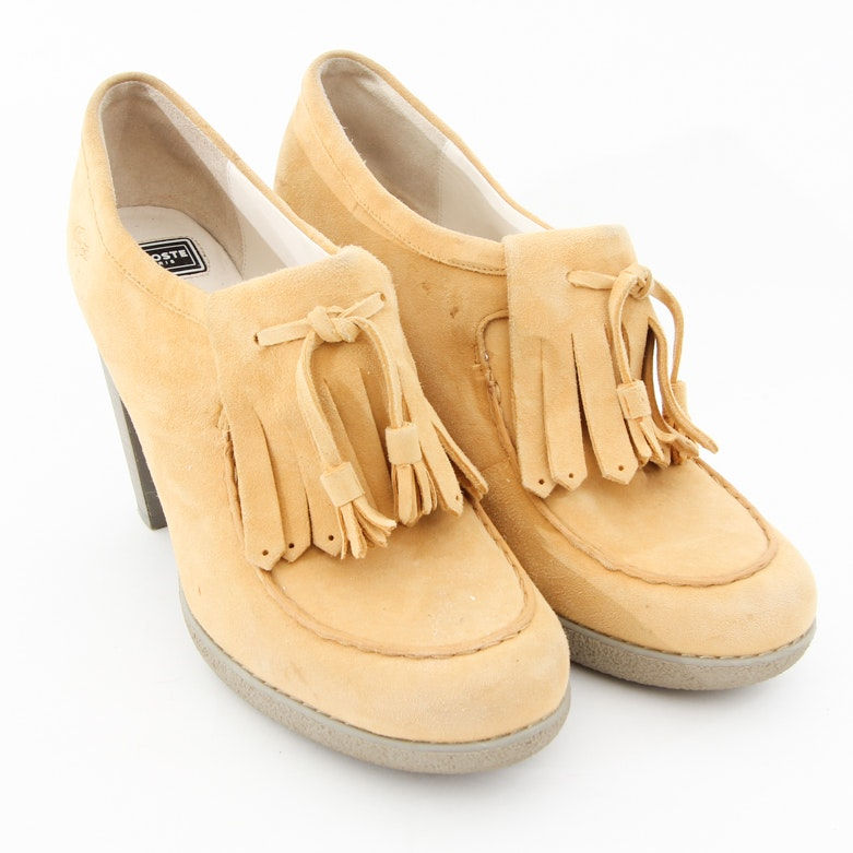 Lacoste Lahila Yellow Suede Platform Loafers