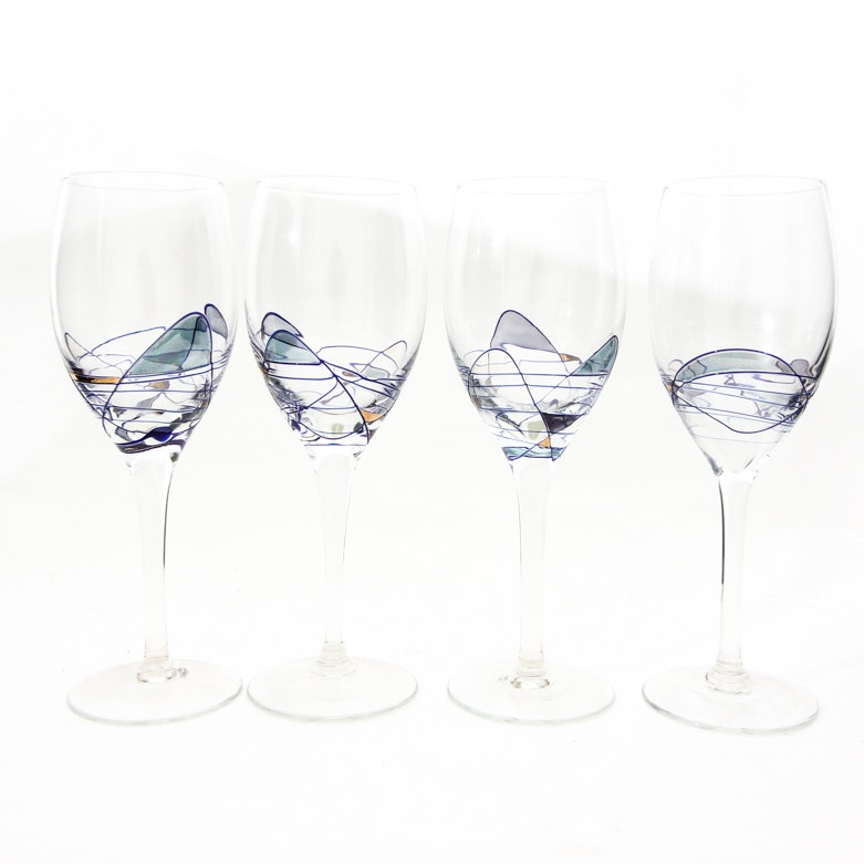 Set of Hand Blown and Hand-Painted White Wine Glasses