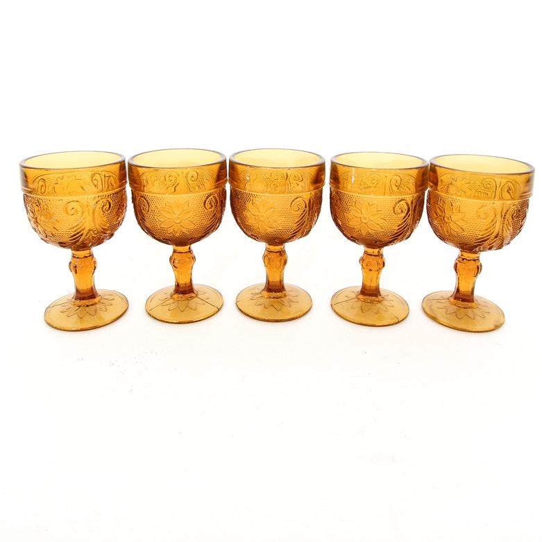 Vintage Tiara Indiana Sandwich Pattern Amber Glass Goblets