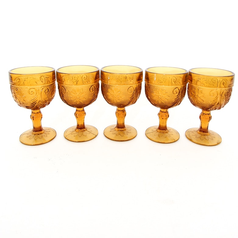 Vintage Tiara Indiana Sandwich Pattern Amber Glass Goblets