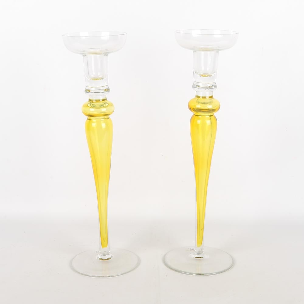 Sasaki Art Glass Candlesticks