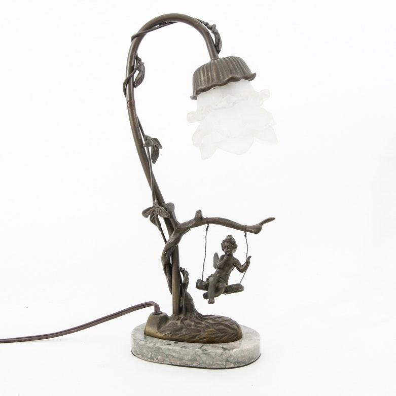 Vintage Andrea by Sadek Art Nouveau Style Bronze Table Lamp