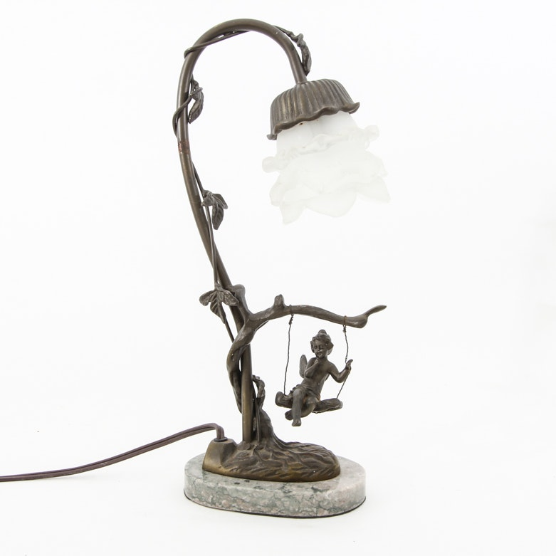 Vintage Andrea by Sadek Art Nouveau Style Bronze Table Lamp