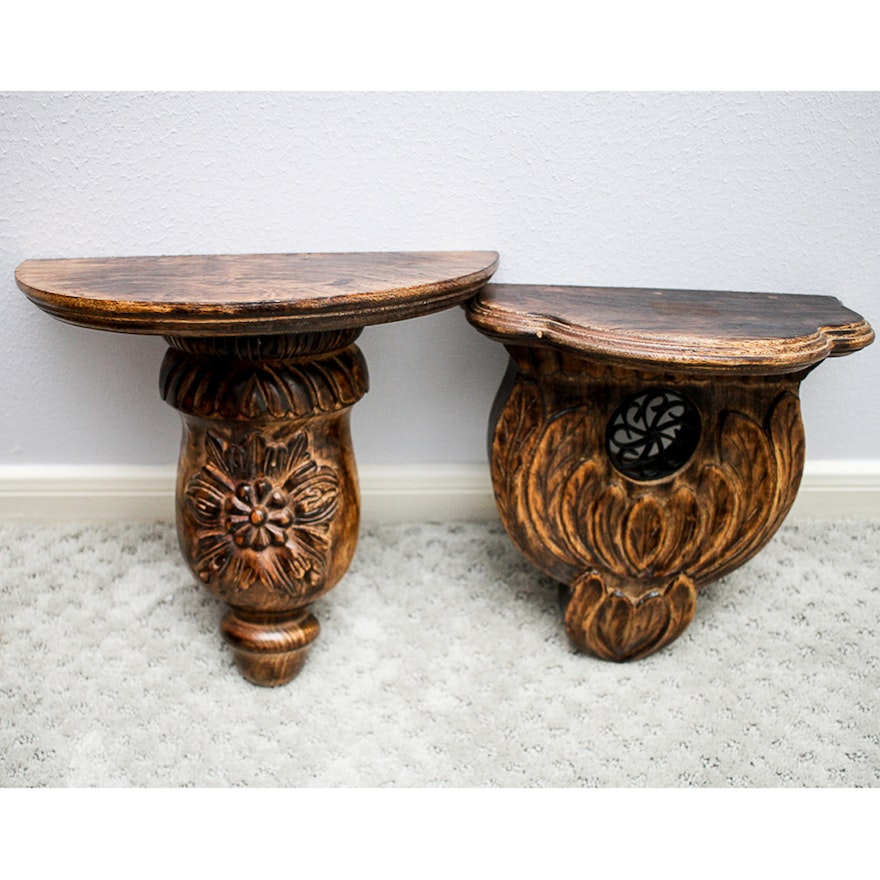 Pair Of Carved Wooden Indian Wall Sconce Shelves Ebth