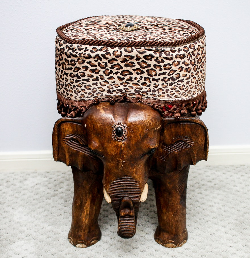 Decorative carved wooden elephant stool ebth