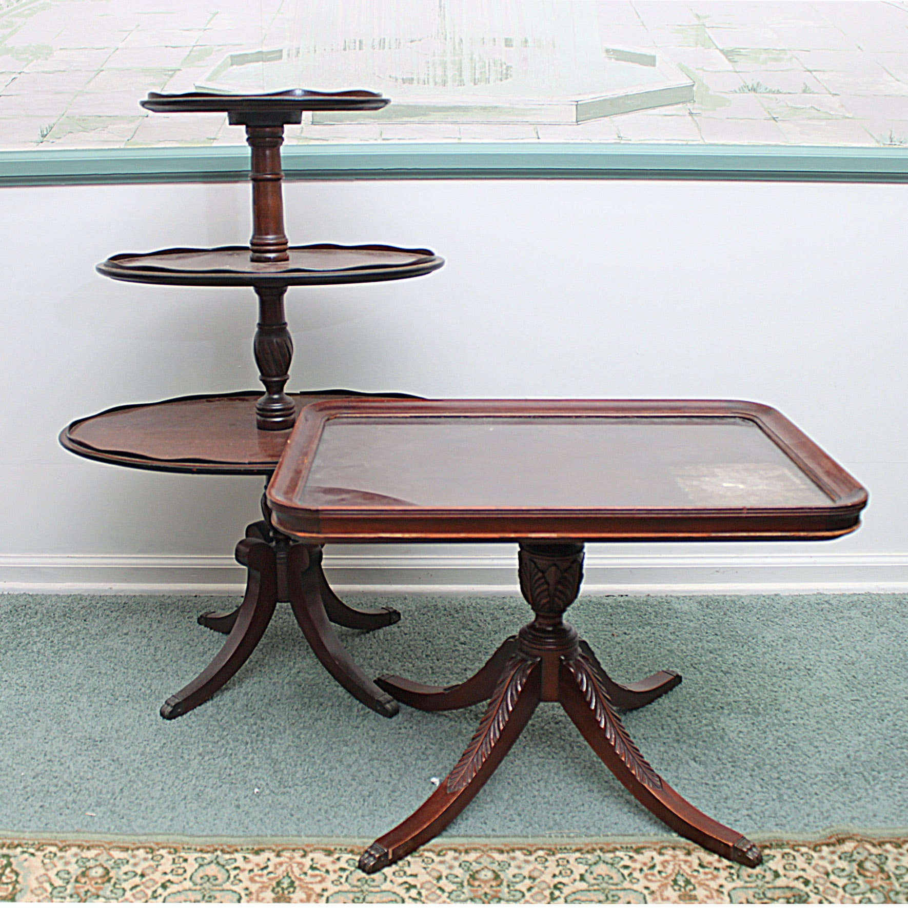 Vintage Duncan Phyfe Style Three Tier Table and Glass Top Side Table