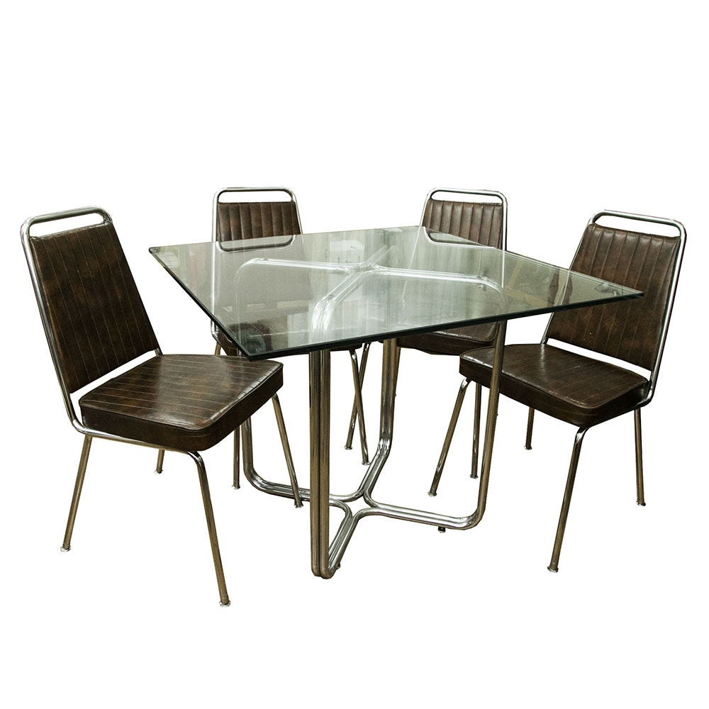 Chrome and Glass Dinette Table with Chromcraft Chairs EBTH