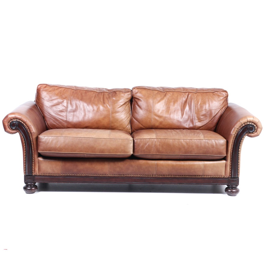 Phenomenal Bernhardt Leather Sofa With Brass Tack Detail Andrewgaddart Wooden Chair Designs For Living Room Andrewgaddartcom