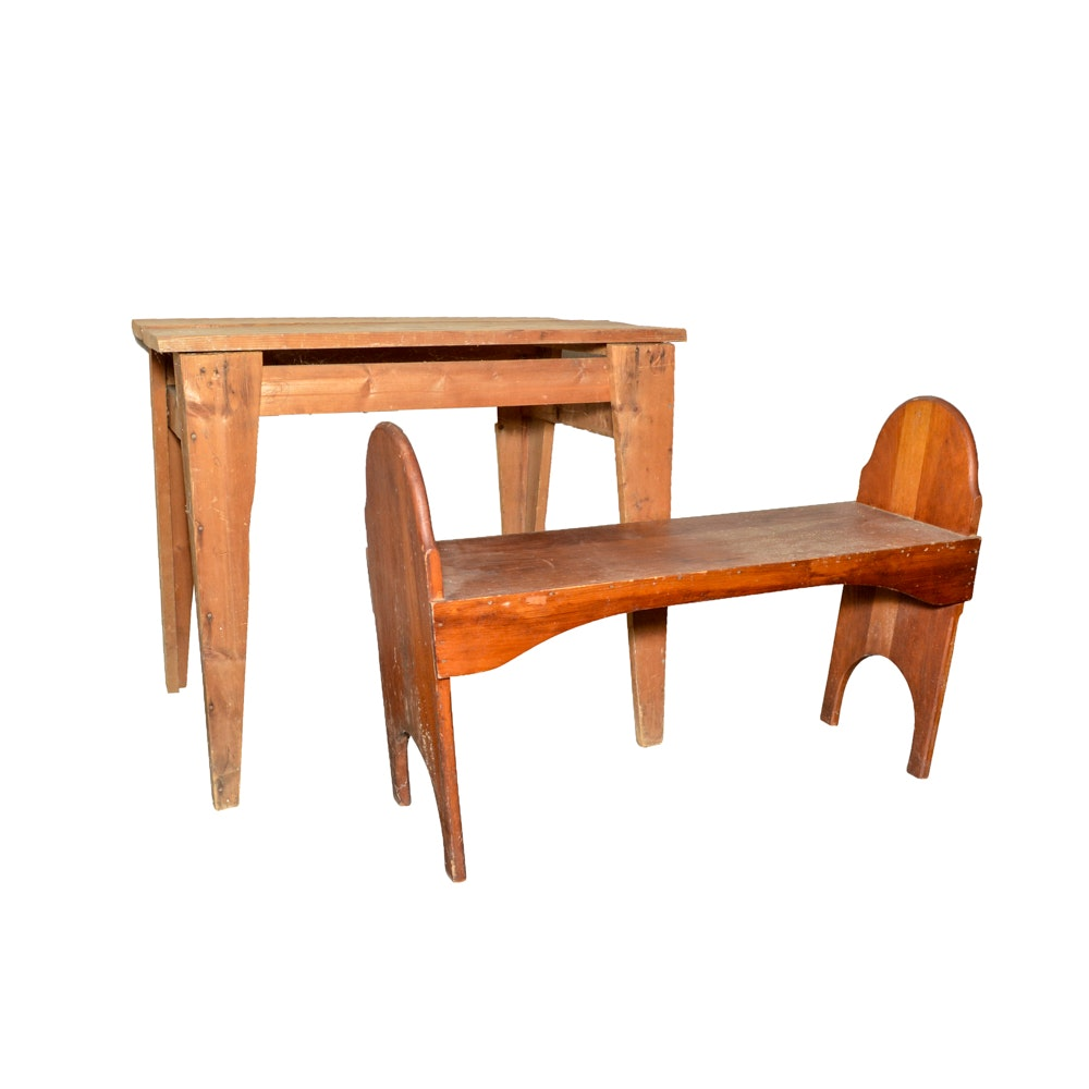 Rustic Wooden Bench and Table