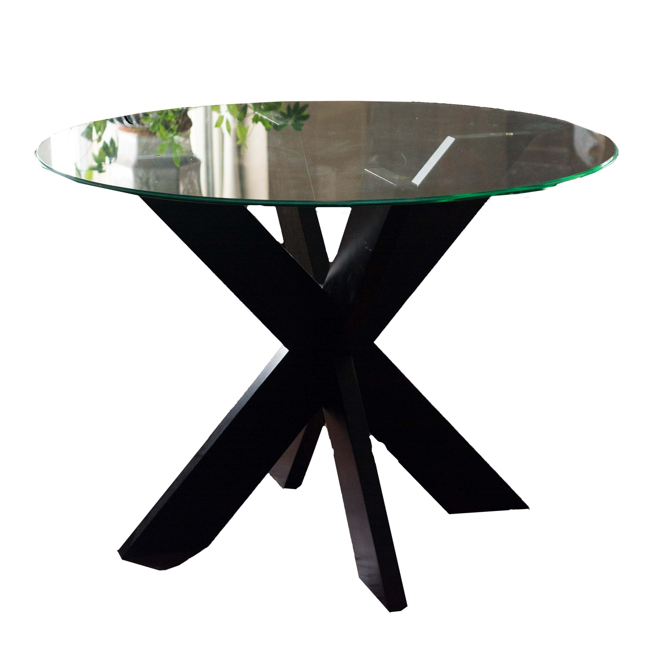 Contemporary X Base Side Table With Glass Top