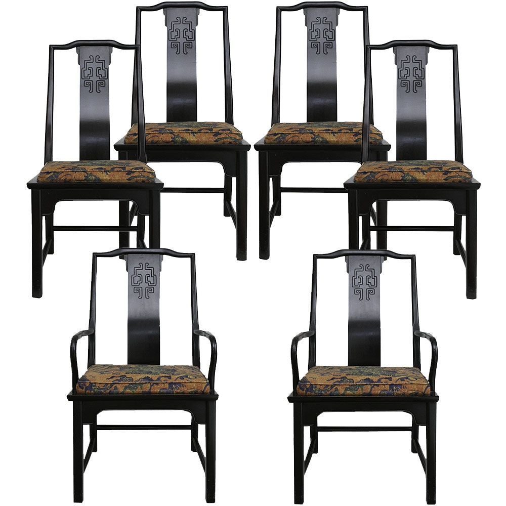 Chinese Style Yoke Back Dining Chairs By Century Furniture ...