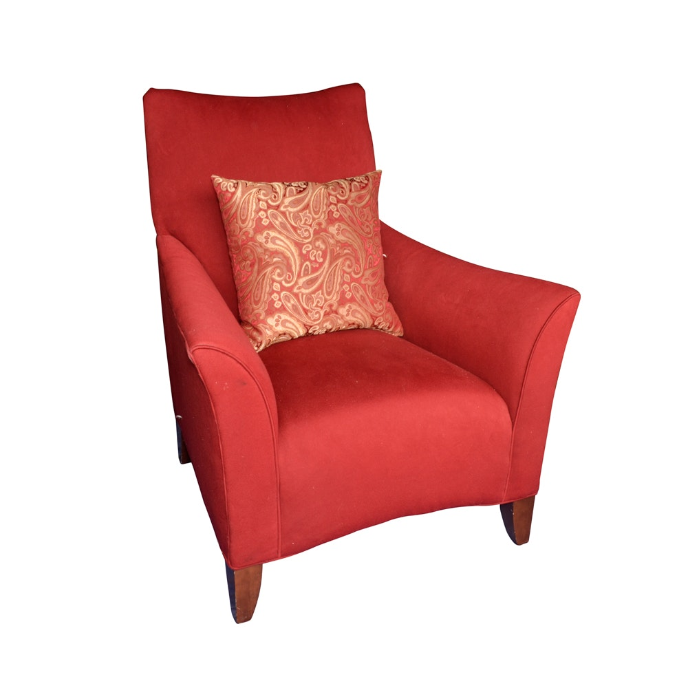 Contemporary Red Upholstered Armchair