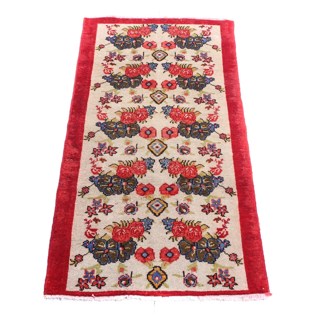 Semi-Antique Hand-Knotted Turkish Village Rug