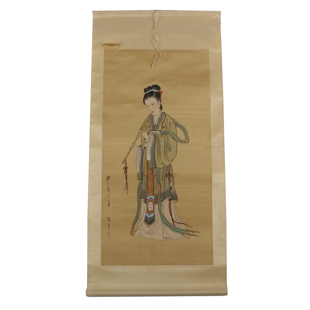 Chinese Gouache and Ink Painting on Silk Scroll of a Flutist