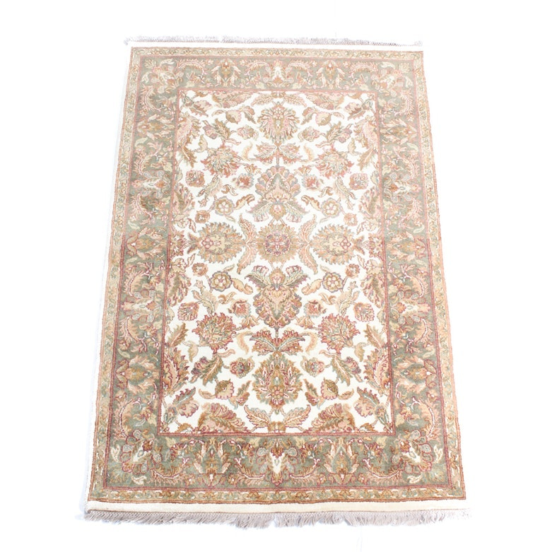 Hand-Knotted Indian Agra Area Rug