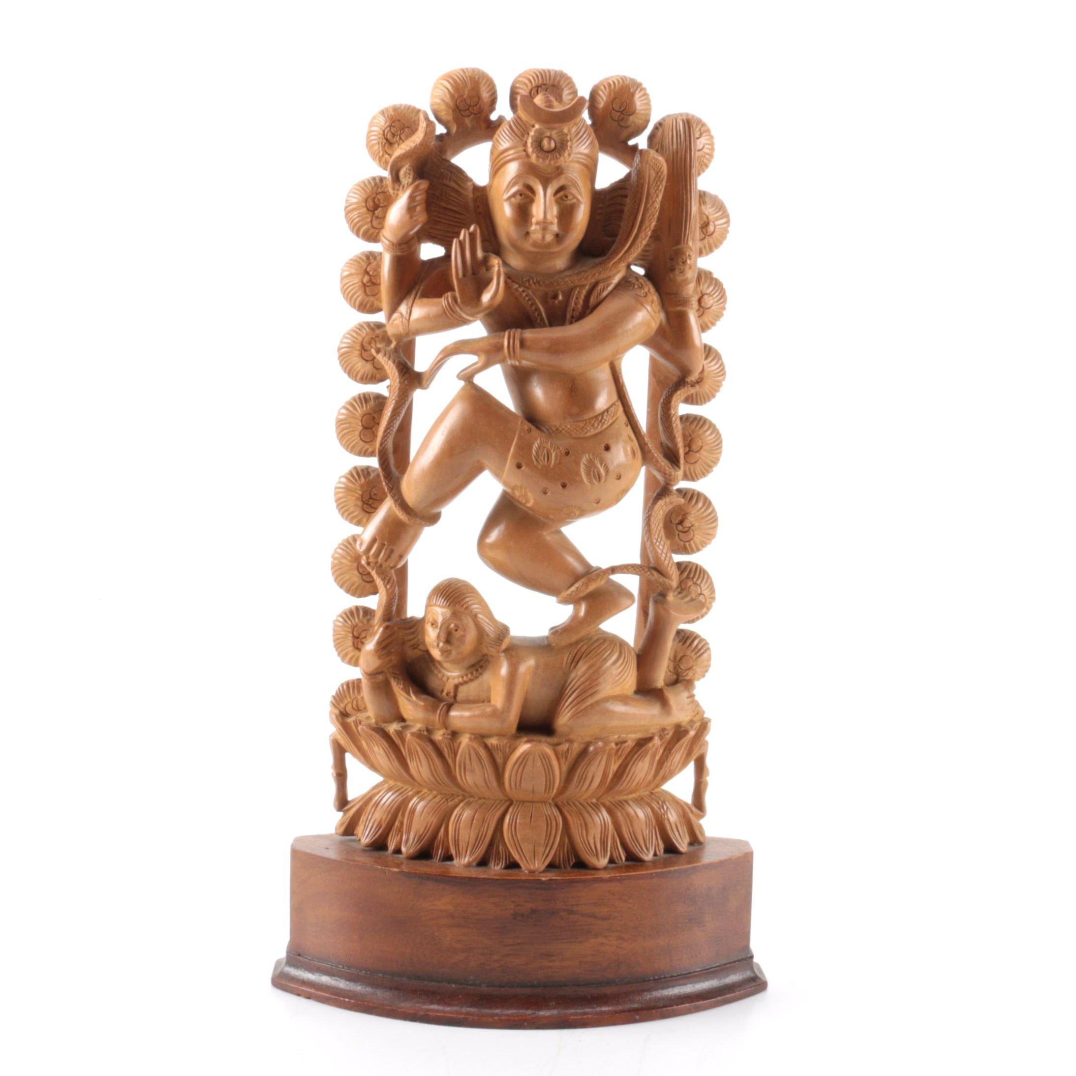 Nataraja Shiva Inspired Carved Sandalwood Figurine